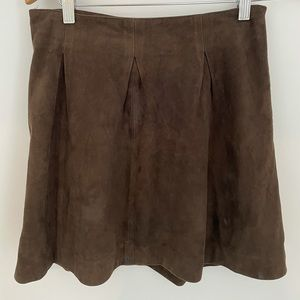 Real Suede Skirt Brown 100% Leather suede Size S M AUS 8 10 Vintage